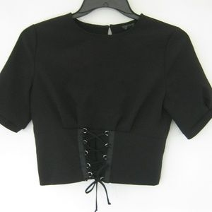 TopShop Women Black Top Sexy Back Lace Up Front